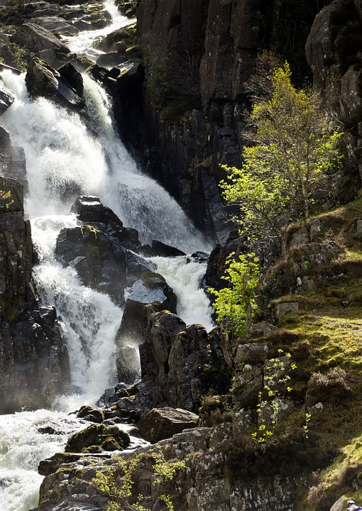 lower ogwen waterfall, wales, snowdonia