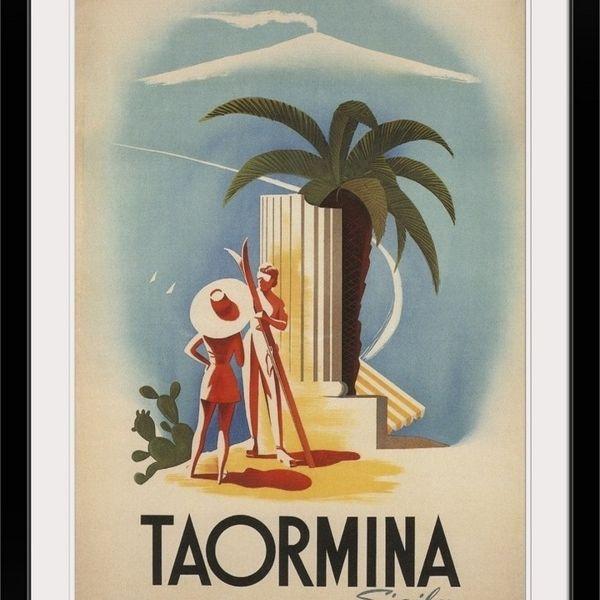 """Taormina, Sicily - Vintage Travel Advertisement"" Black Framed Wall Art Print"