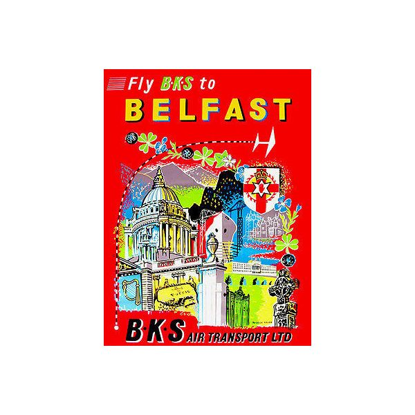 """1950's Fly BKS to Belfast, BKS Air Transport, Travel Poster, 8.5""""x11"""""""