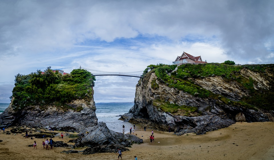 beach, cornwall, bridge