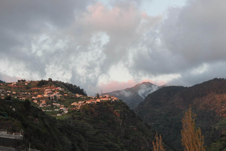 madeira, mountains, clouds