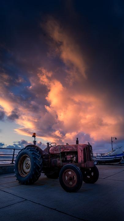sunrise, coast, tractor