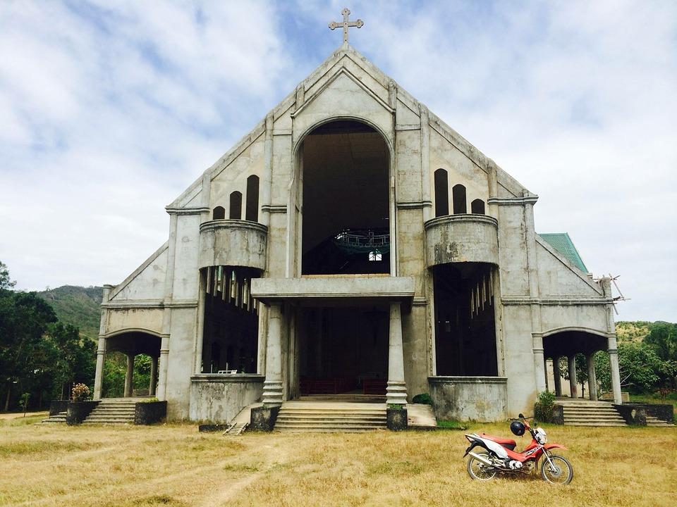 church, philippines, motorbike