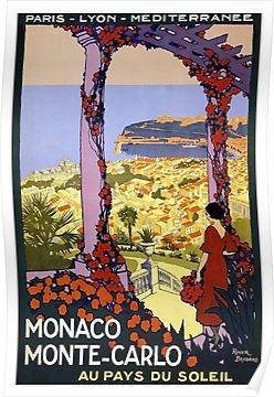 Monaco, Monte Carlo, France, vintage travel poster Poster