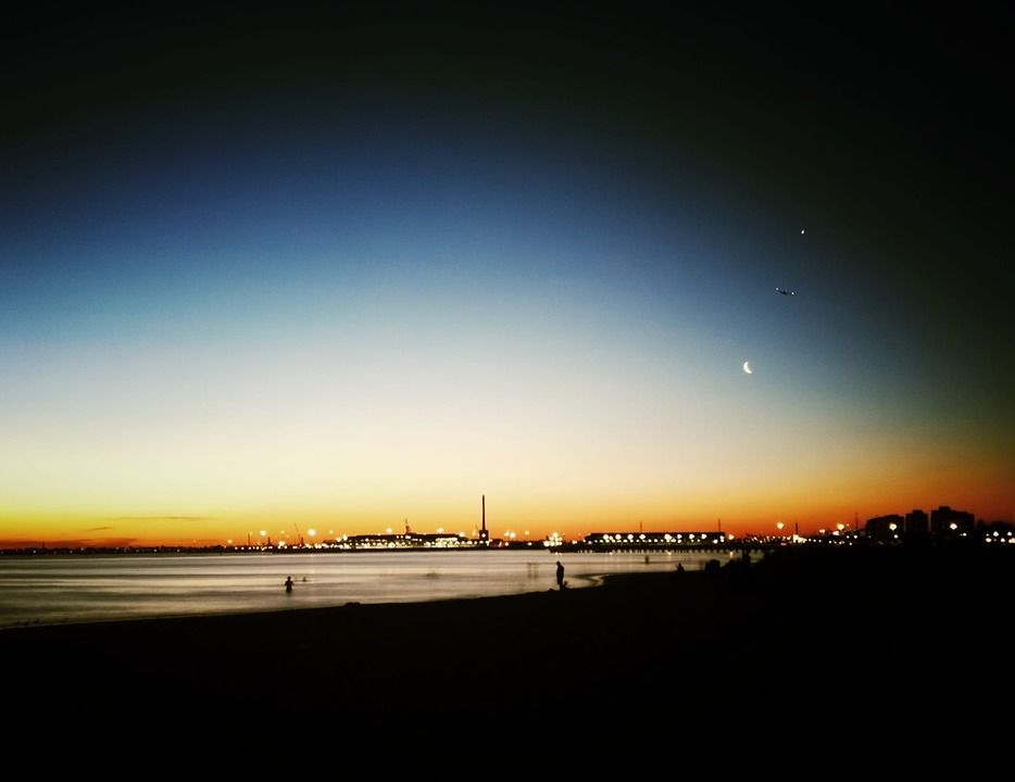 night, cityscape, beach