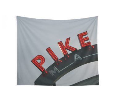 Pike Place Market - Seattle, Washington, USA Travel Fog Wall Tapestry
