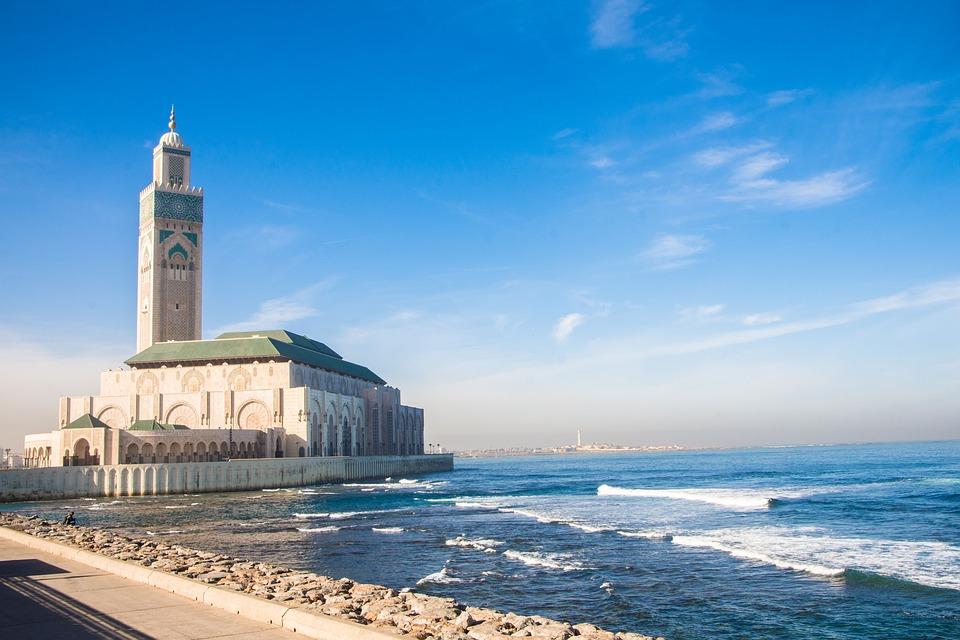 casablanca, mosque, sea