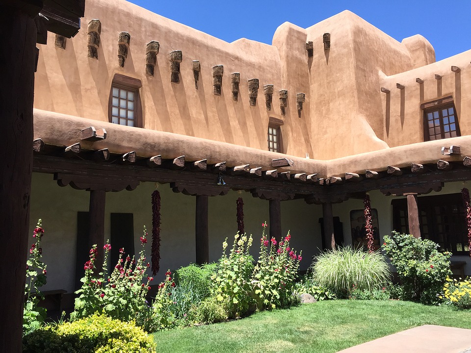 santa fe, building, courtyard