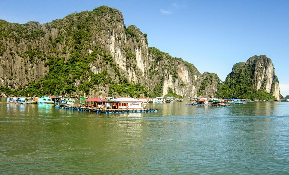 ha long bay, vietnam, fishing village