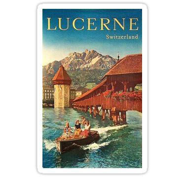 Lucerne, Switzerland, boat ride, wintage travel poster Sticker