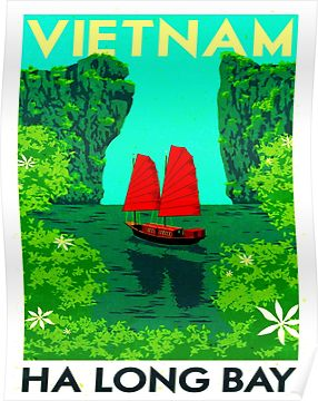 """VIETNAM"" Vintage Ha Long Bay Travel Print Poster"