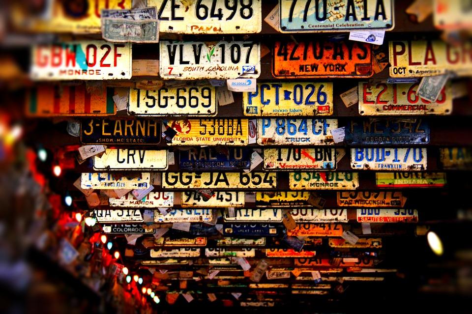 license plates, ceiling, bar