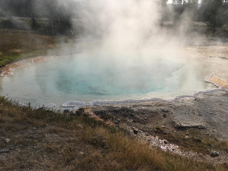 yellowstone, hot springs, waterfall
