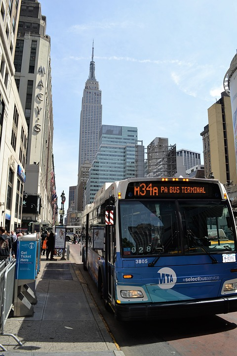 bus, empire state building, new york city