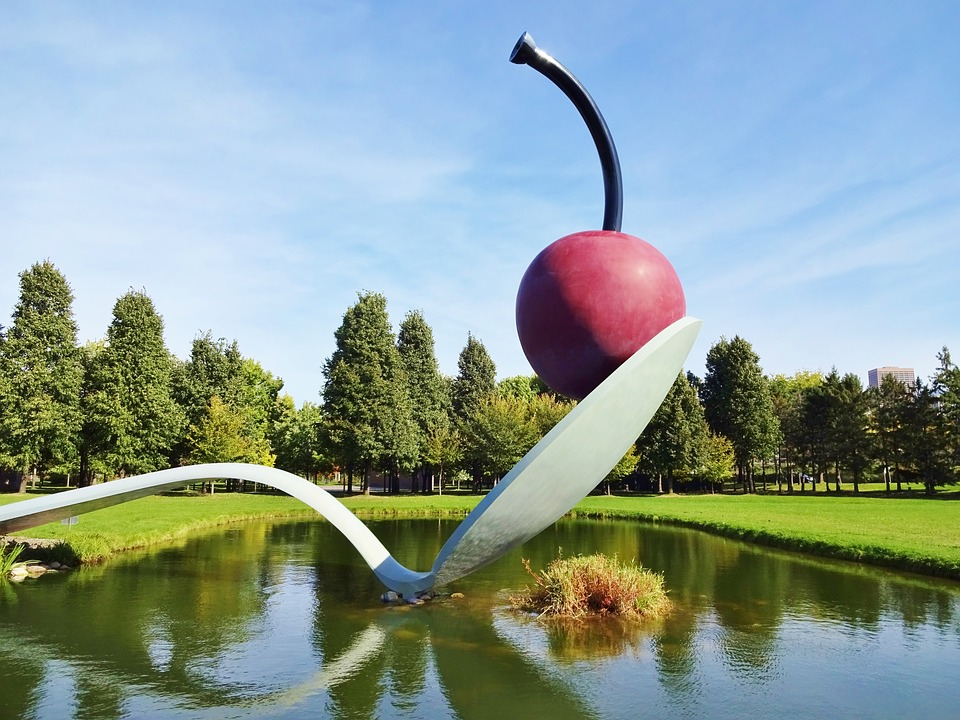 cherry on a spoon, cherry, sculpture