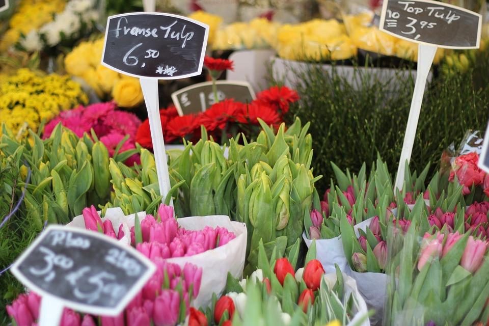 flowers, tulips, market
