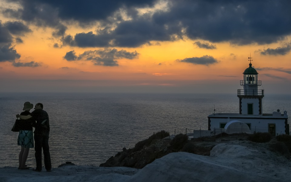 santorini, lighthouse, sunset
