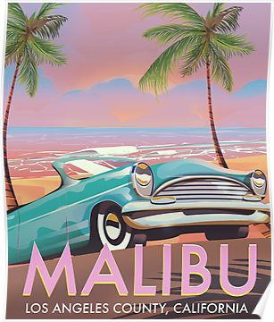 Malibu, Los Angeles, California travel poster Vintage travel poster Poster