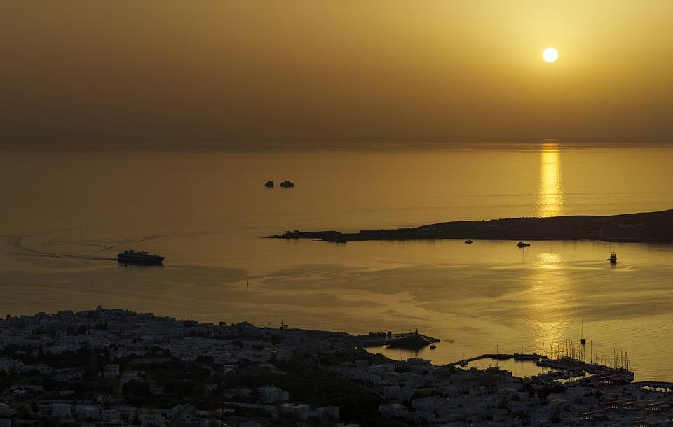 sunset, island, greek