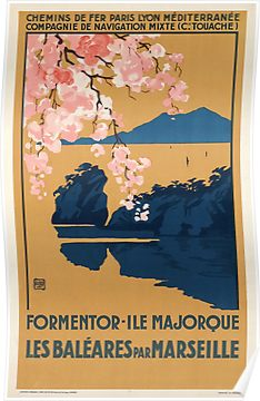 Vintage Travel Poster France - Spain Balearic Islands Mallorca Poster