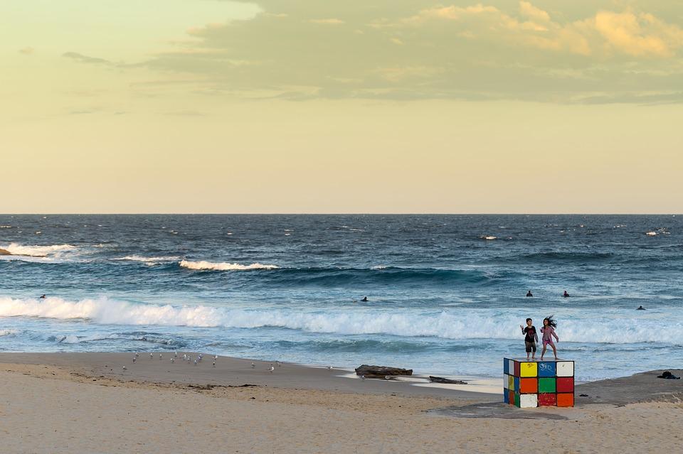beach, beach walk, sunset