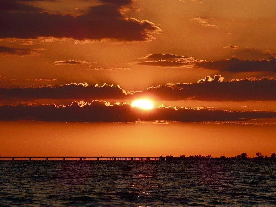 sunset, water, sky