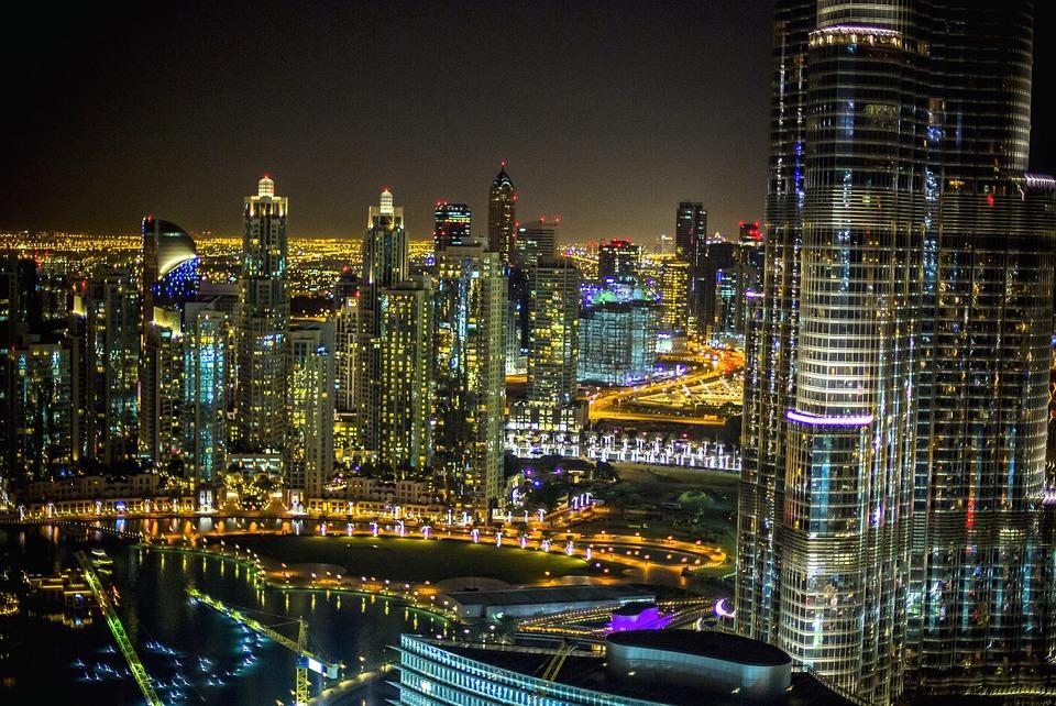 city, dubai, night
